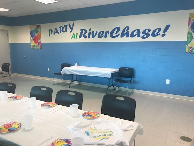 RiverChase splash room party set-up